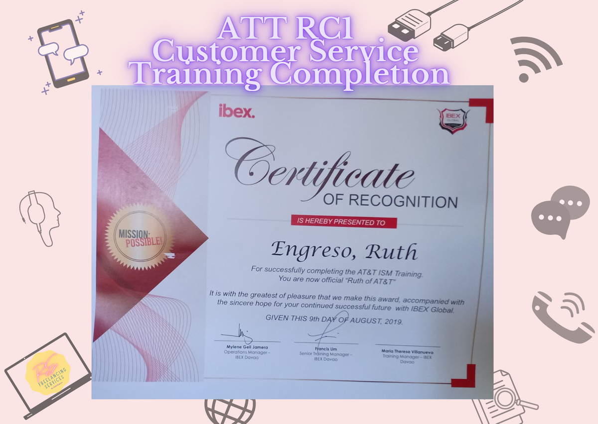 Certificate of Completion for ATT RC1 Customer Service
