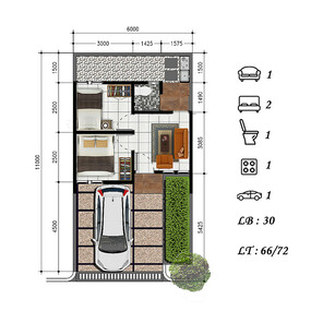 2d floor plan of Andalusia Resident House type 30