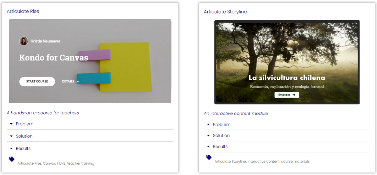 Interactive content modules in Articulate Rise & Storyline for teachers and students