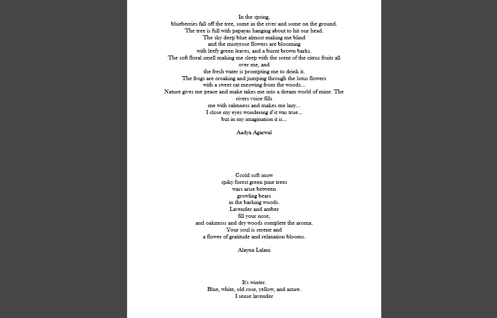 Example of some of the resultant poems created by the students