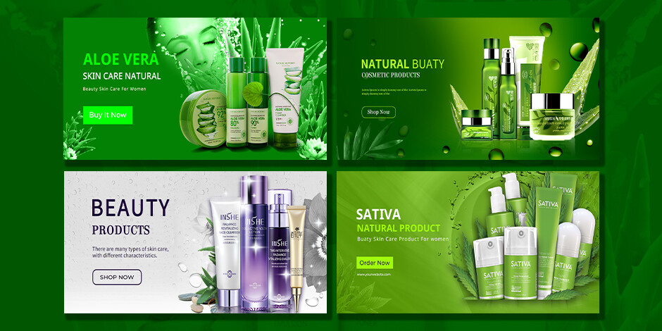 Natural Beauty Cosmetice Product website  banner Design