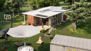 aerial vie of the front/porch and the land scape,