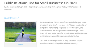 Screenshot of article on the blog.