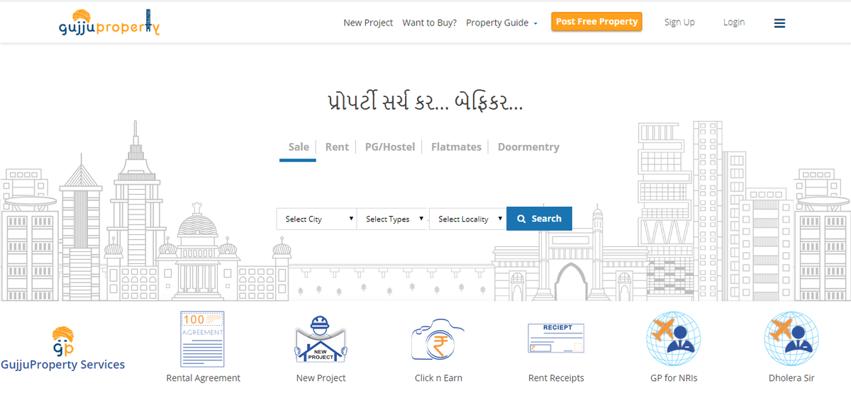 Gujju Property Gujju property is a web based application in which one can find property for sales or rent. It shows civil projects and also provides rental and agreement facilities.  URL: https://gujjuproperty.com/