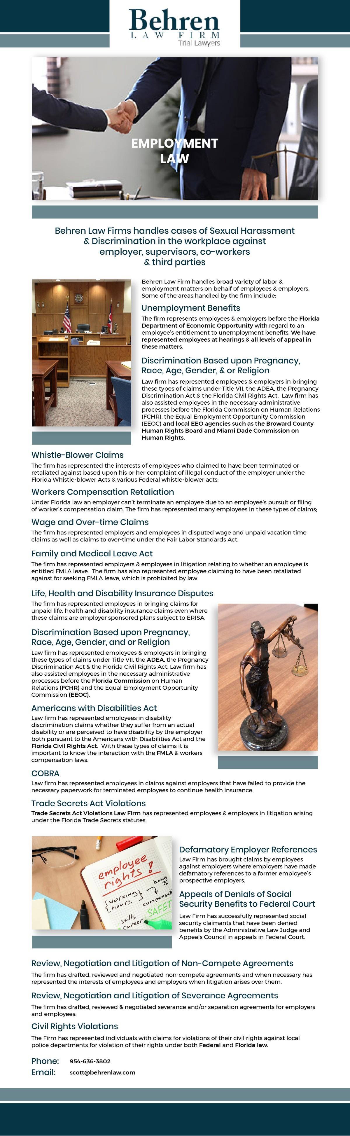 Newsletter design for Behren Law Frim