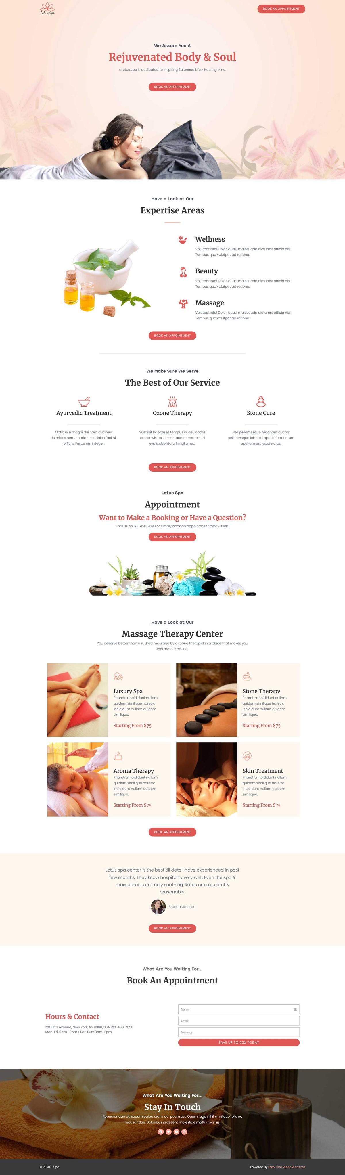 Salon or Spa Website Concept