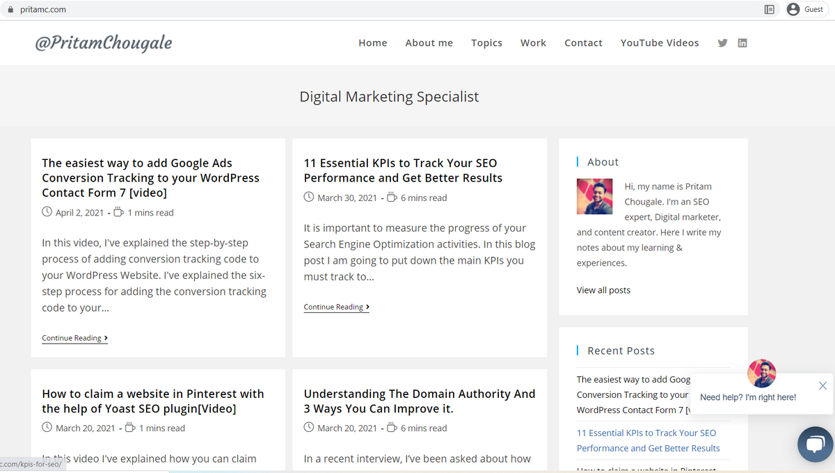 Pritam Chougale - Digital Marketing Specialist