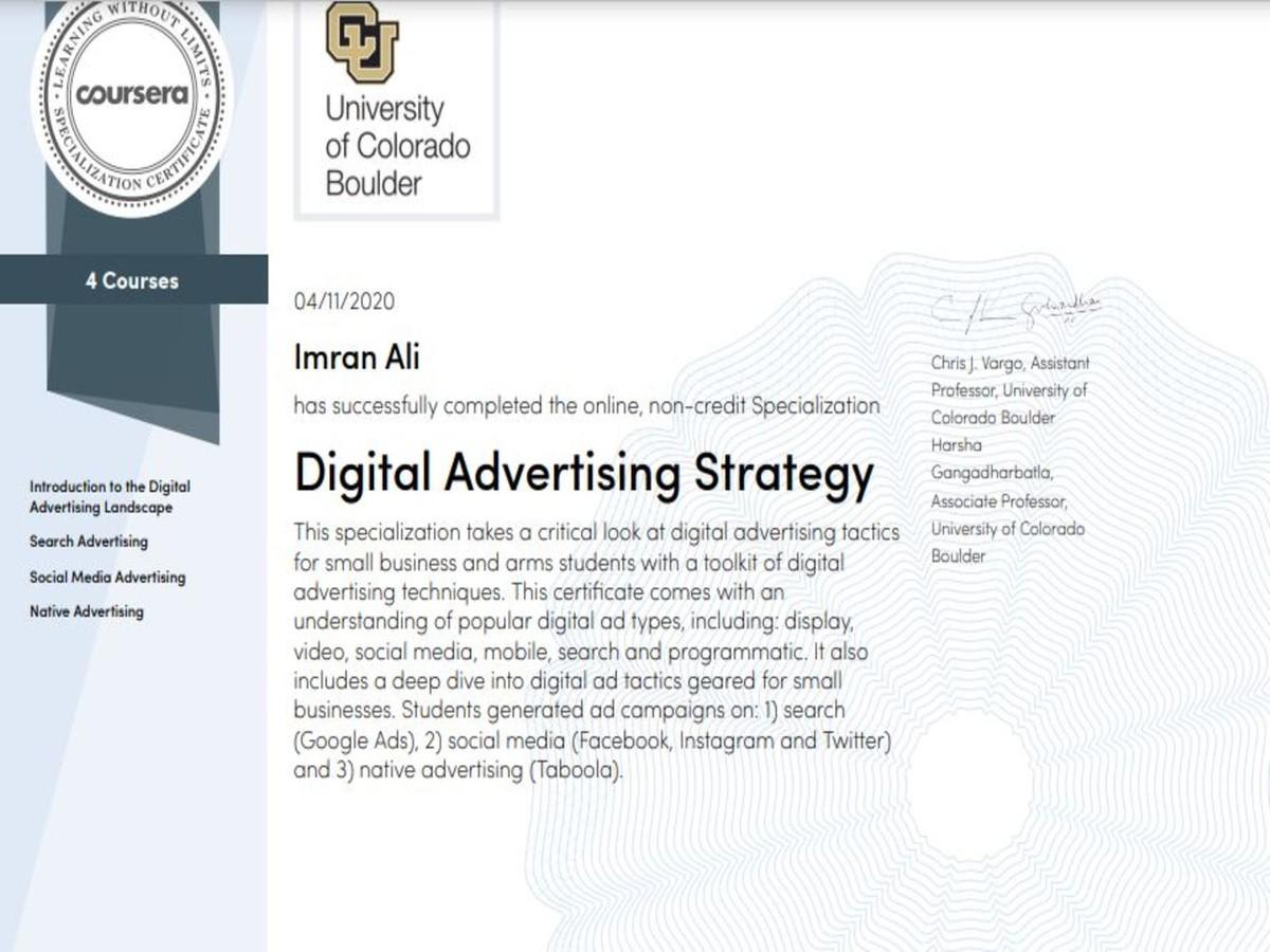 Digital Advertising Specialization from University of Colorado Boulder