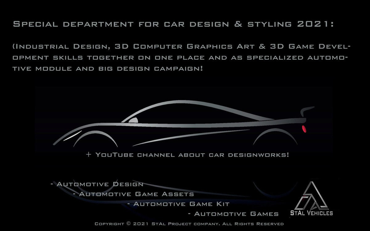 """StAl Vehicles, department and division of company """"StAl Project"""" specialized for car and transportation design works and styling-2021"""