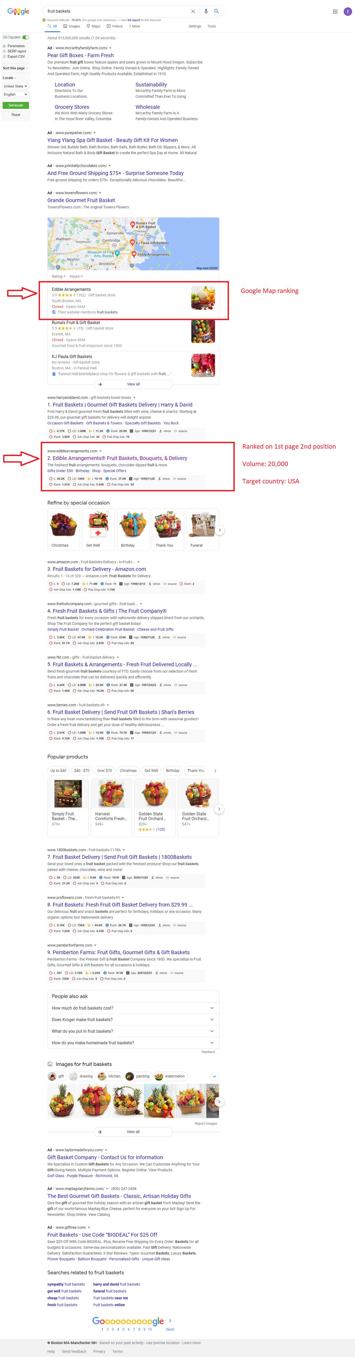 SEO Project-Fruit Baskets