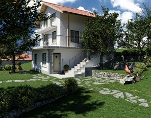 Exterior rendering of a villa